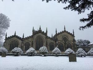Kendal Parish Church in the snow
