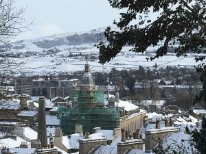 Kendal Town Hall in the snow
